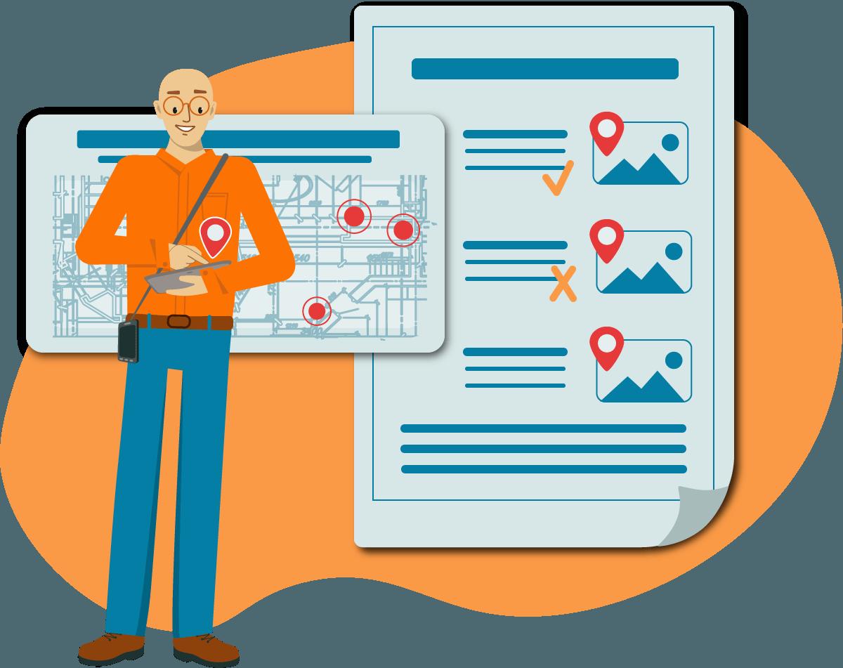 Dokumentations App KEVOX GO Mängel auf Plänen markieren Mangelmanagement