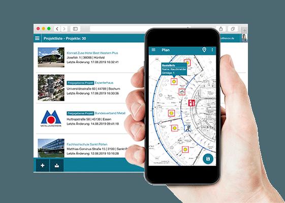 Die KEVOX GO Brandschutz App mit Plänen Formularen Checklisten und Berichten