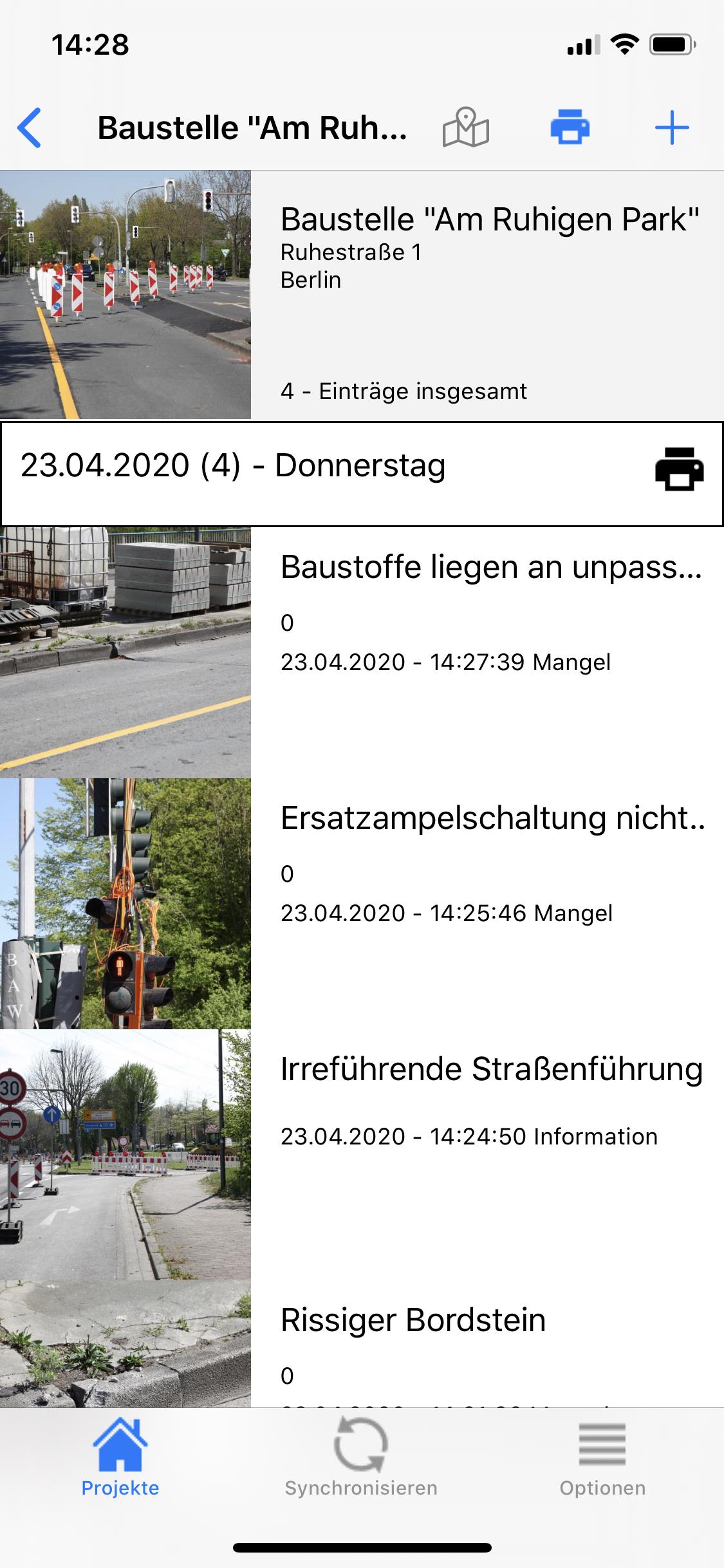 Fotodokumentation App Baustelle Mängelübersicht