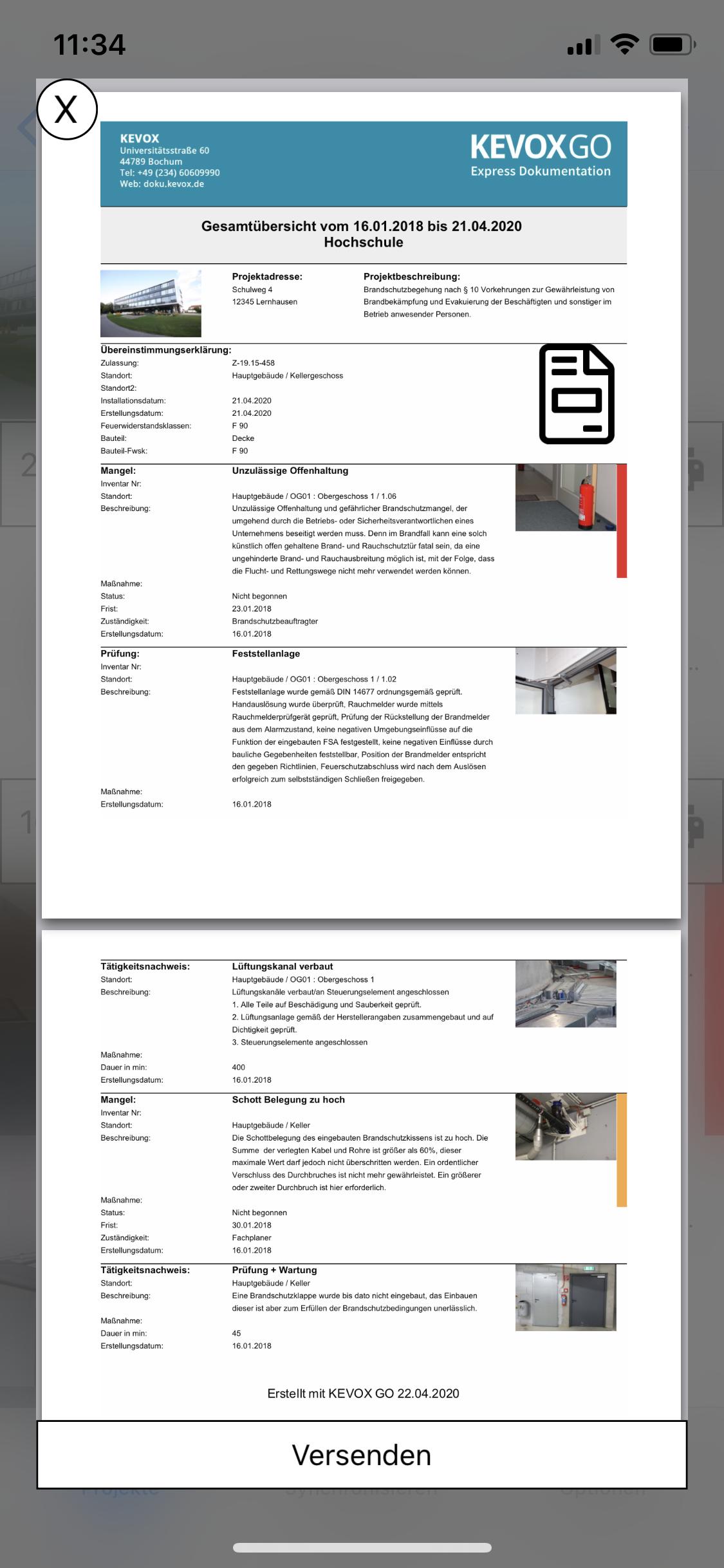 Fotodokumentation App Gesamtbericht fotobericht drucken