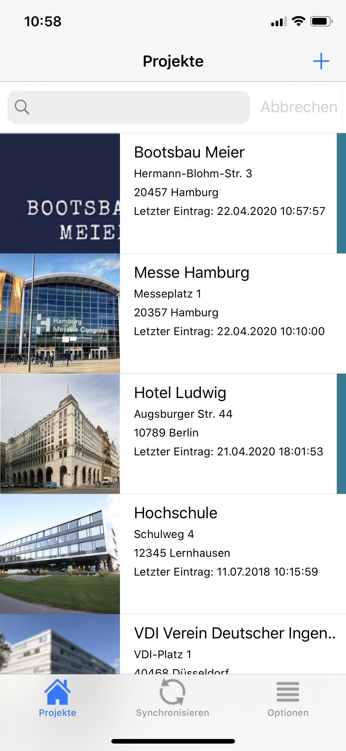 Fotodokumentations App KEVOX GO Projektuebersicht